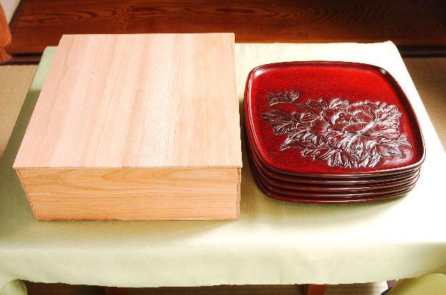 鎌倉彫 胴張懐石盆 尺一寸 五枚組