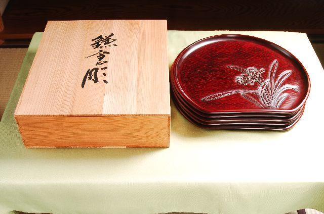 鎌倉彫 半月盆 尺二寸 五枚組